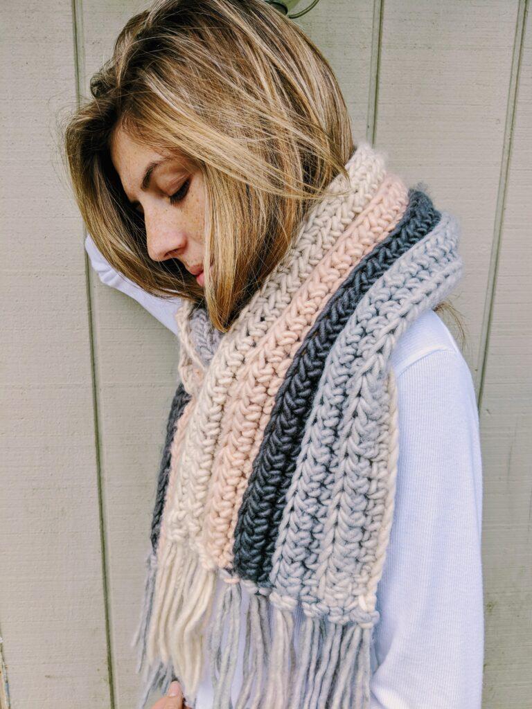 Super simple crochet scarf pattern, ribbed crochet scarf