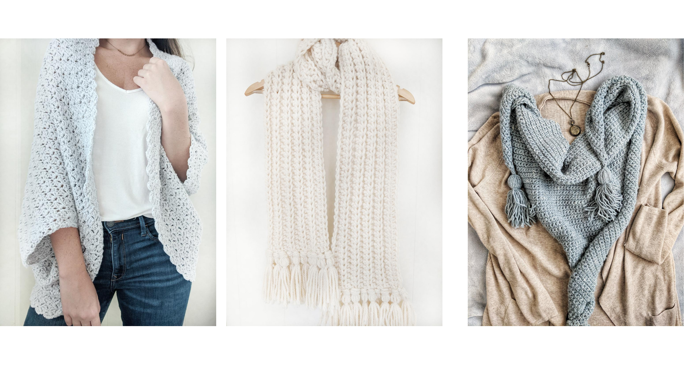3 free crochet patterns that include a crochet shrug, crochet chunky scarf, and a triangle crochet scarf