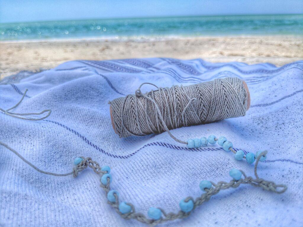 crochet anklet beach scene