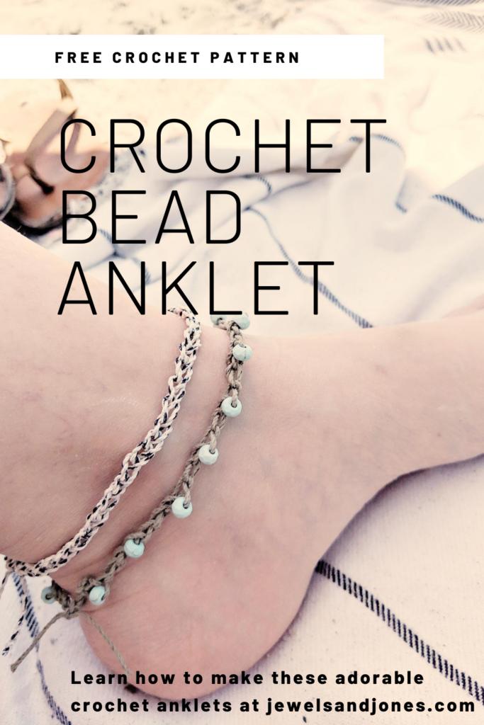 crochet bead anklet free crochet pattern