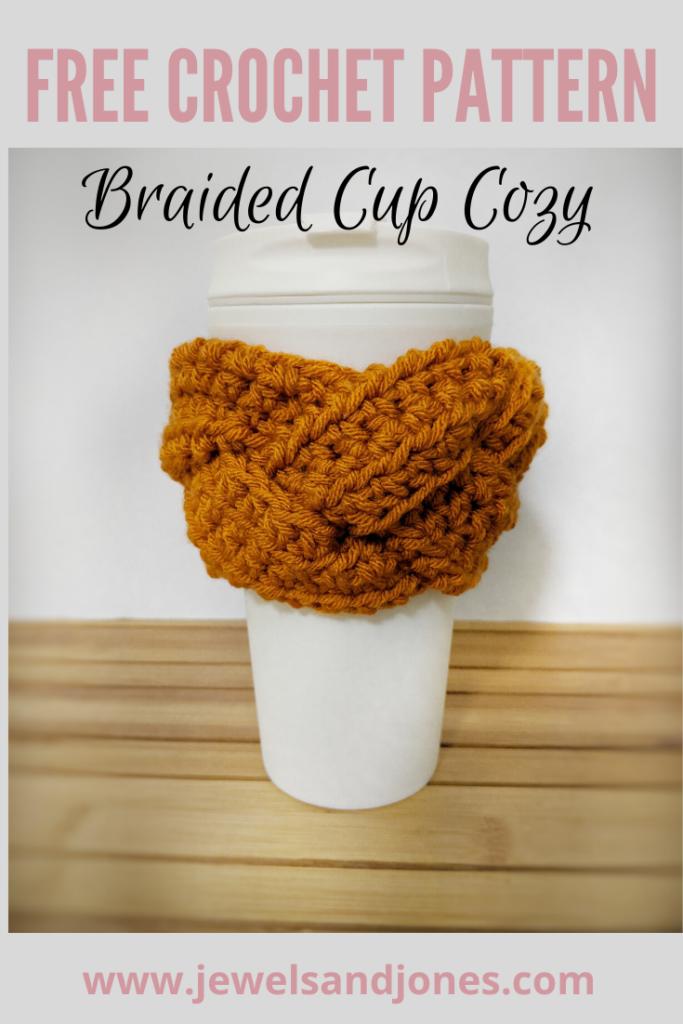 FREE braided crochet cup cozy