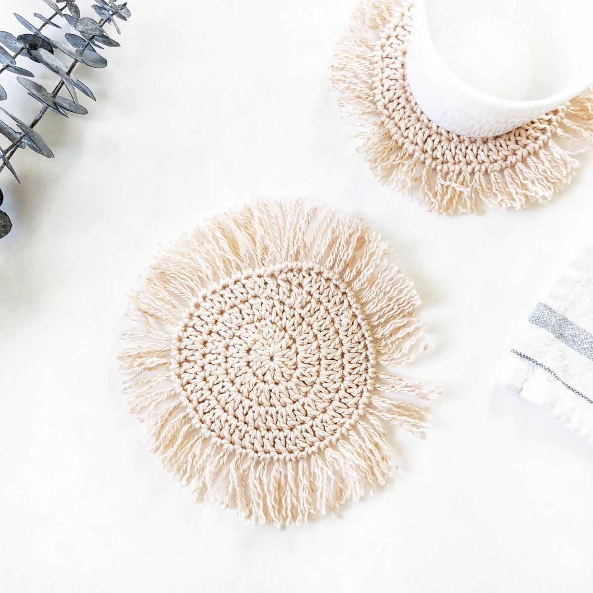 boho crochet coaster with fringe