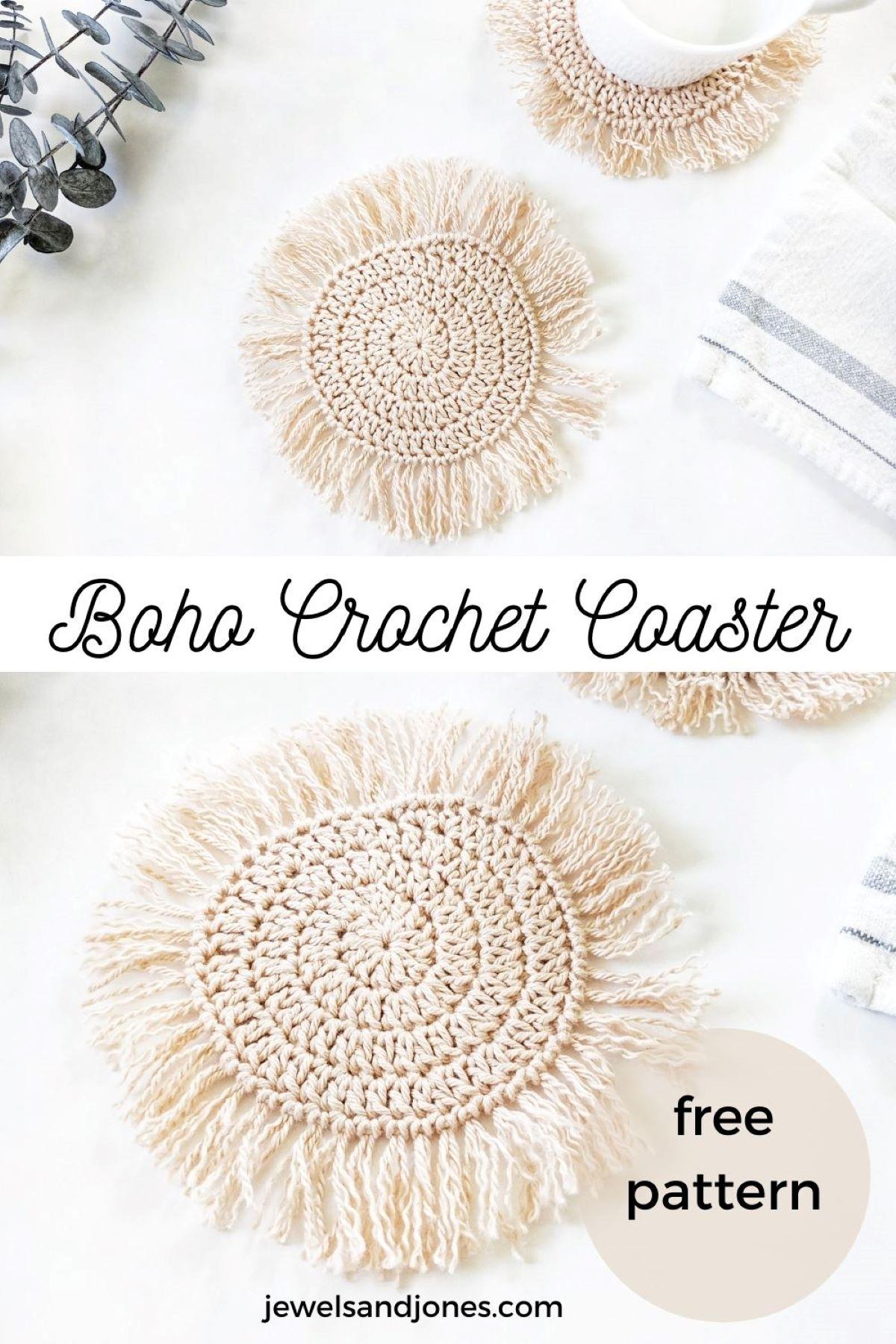 a pinnable boho crochet coasters pin