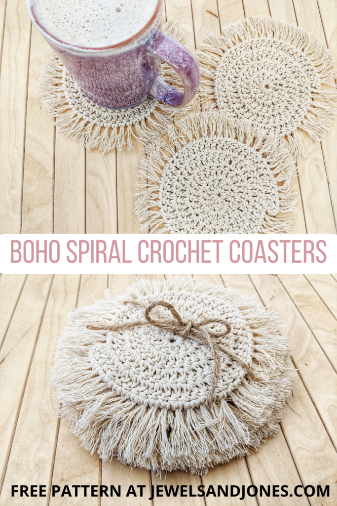 free pattern for boho spiral crochet coaster