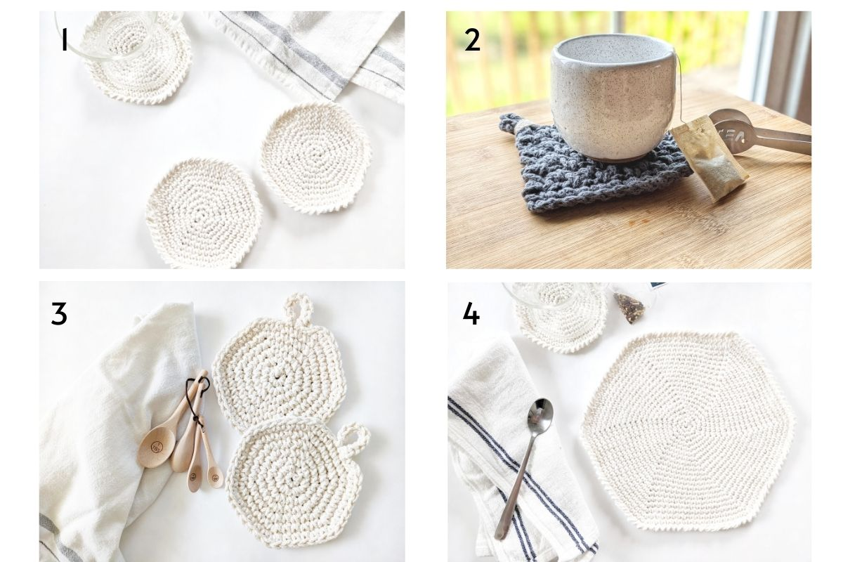 4 free crochet patterns which include crochet coasters, hot pads, chunky coasters, and a round crochet placemat