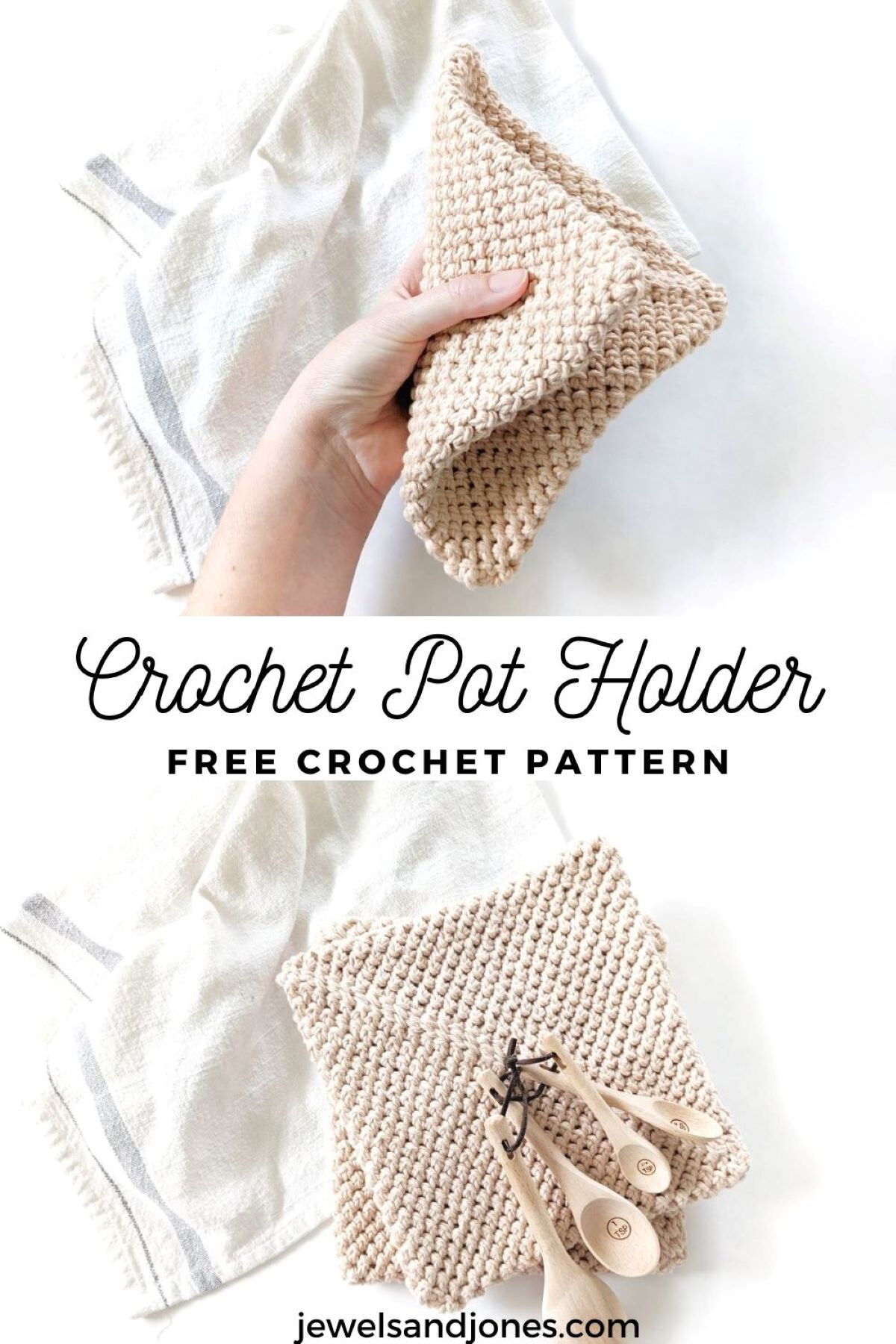 a pinnable image for the double thick crochet potholder pattern