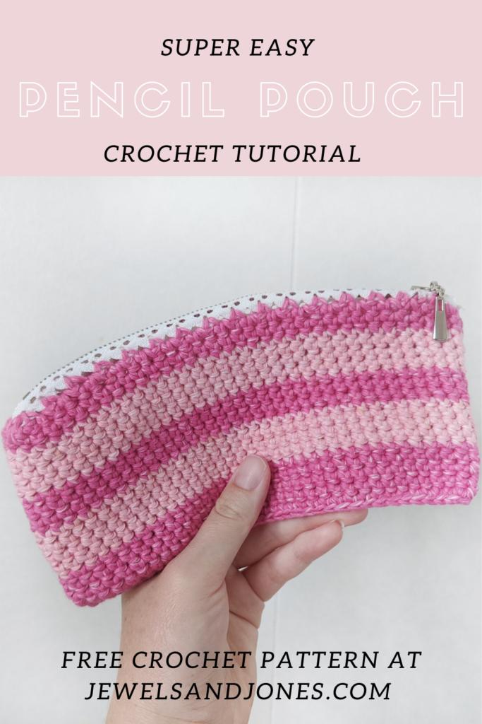 super easy crochet pencil pouch tutorial, a free crochet pattern