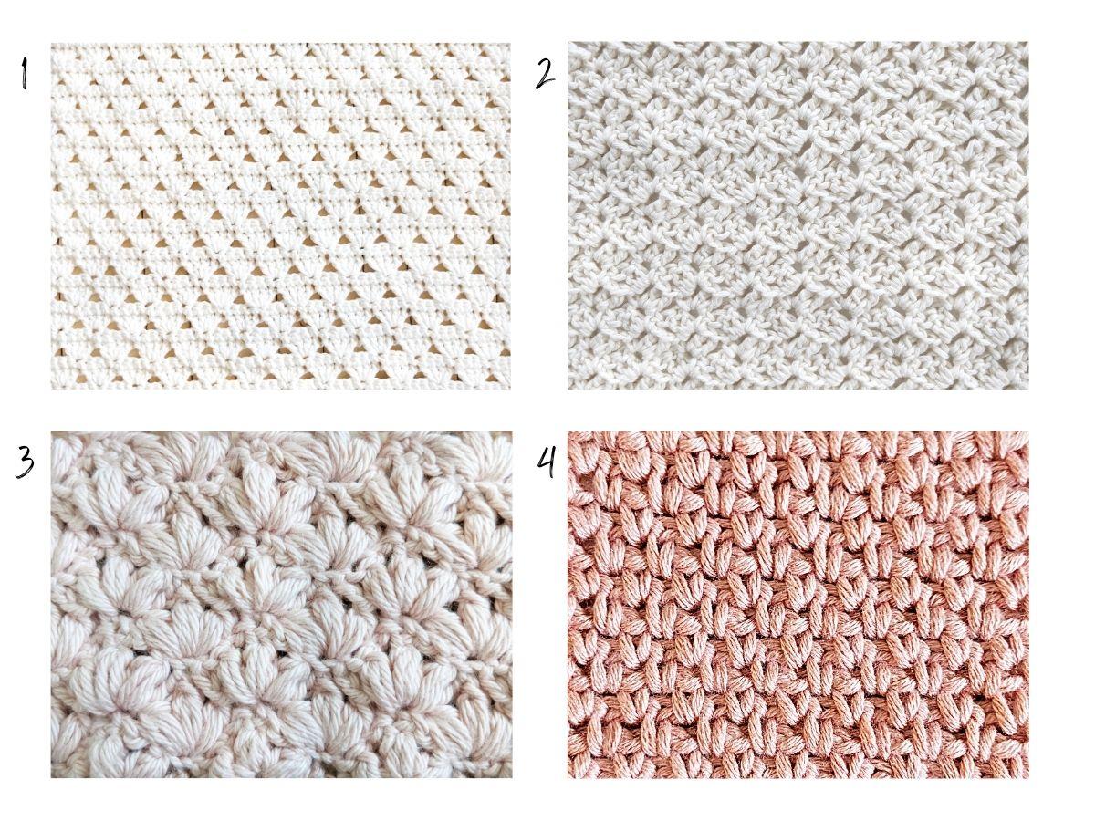 4 different crochet stitches: shell stitch, reverse blanket stitch, lotus stitch, and the granite stitch.