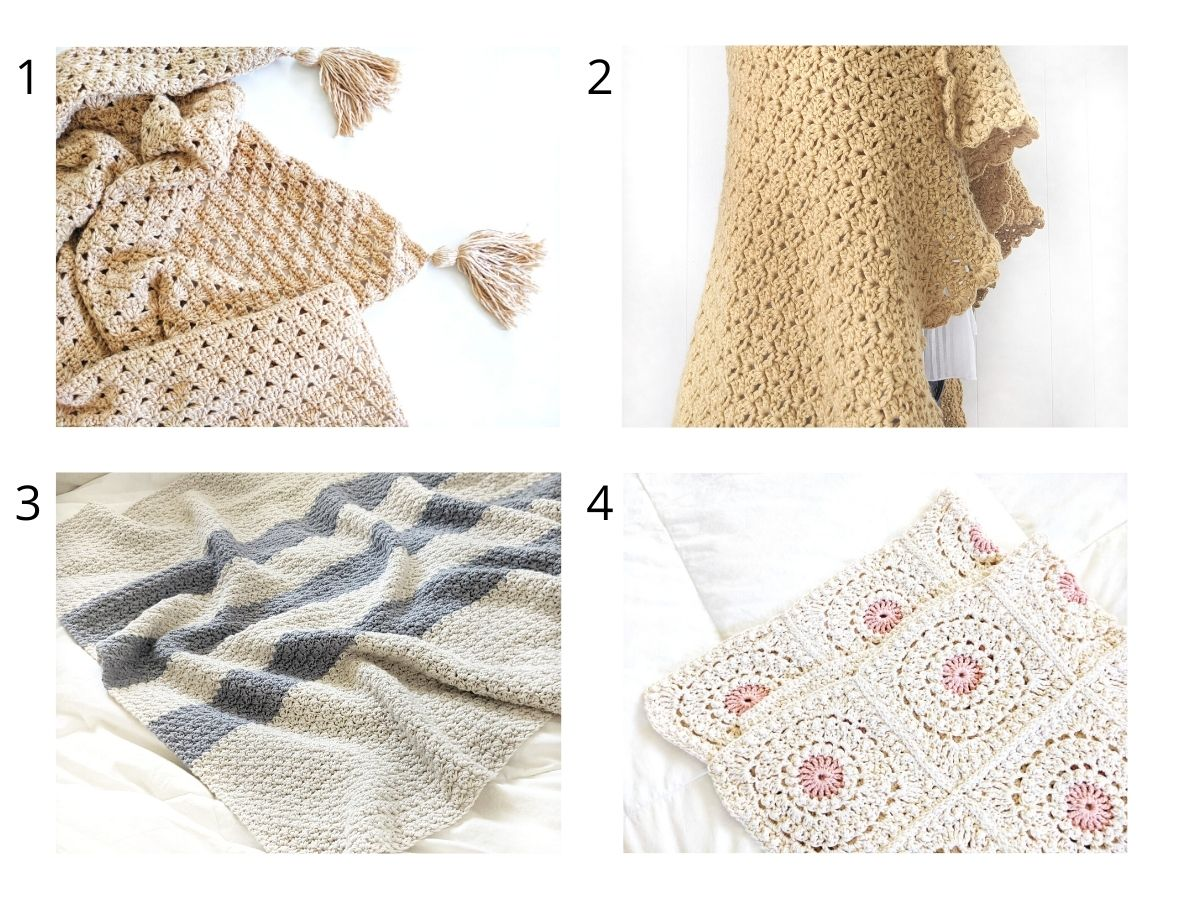 4 different pictures of free crochet blanket patterns