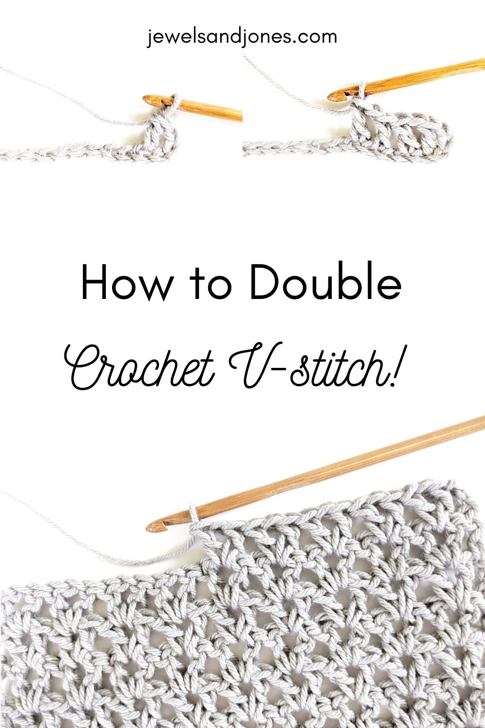 pinnable image shows a swatch of a crochet double v-stitch