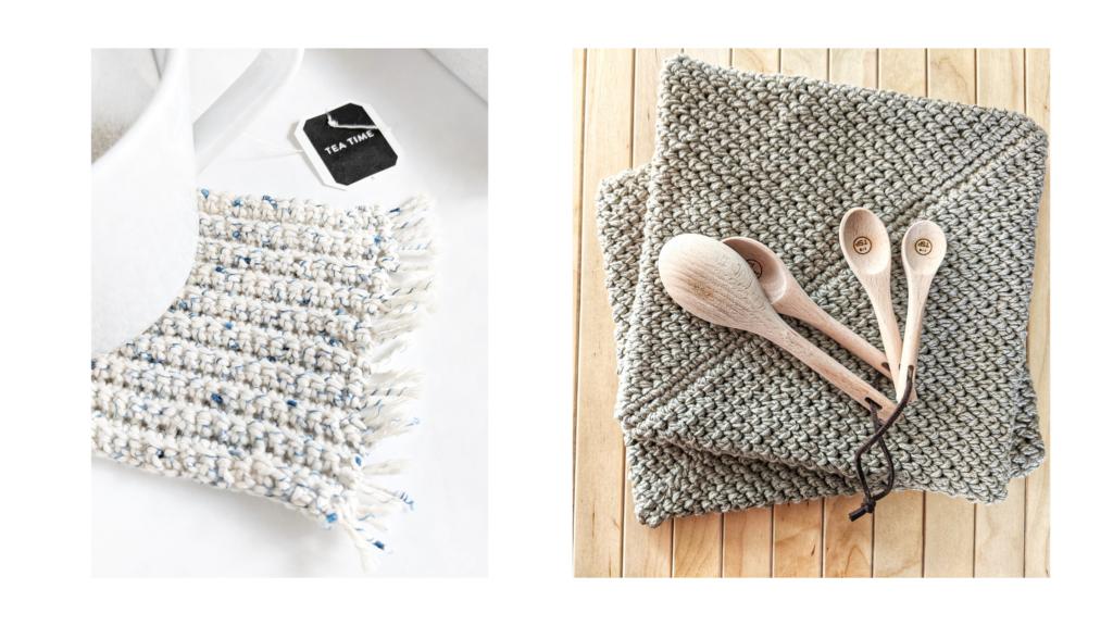crochet mug rug and potholders free pattern