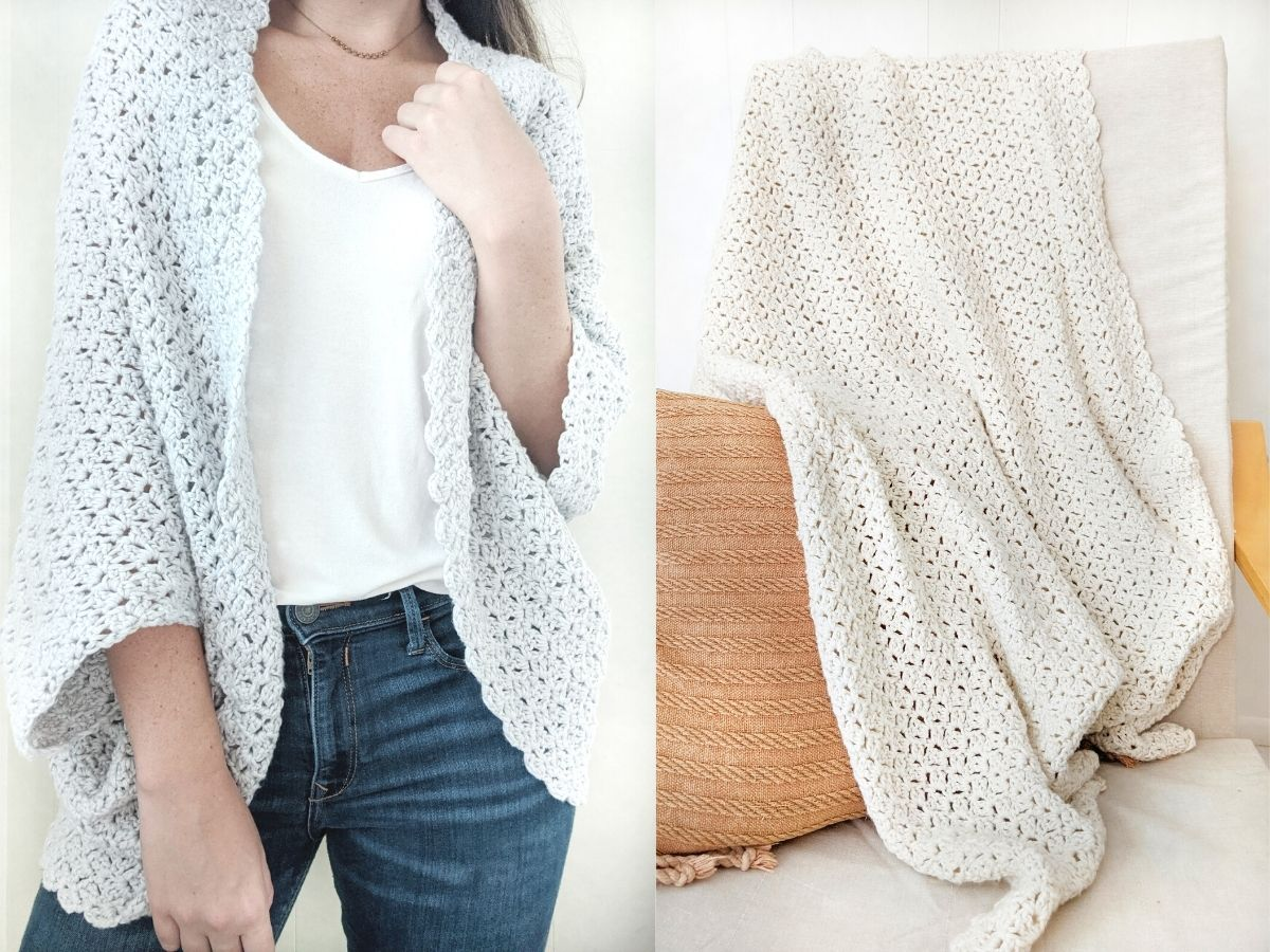 the reverse blanket shrug pattern and the simple crochet blanket pattern
