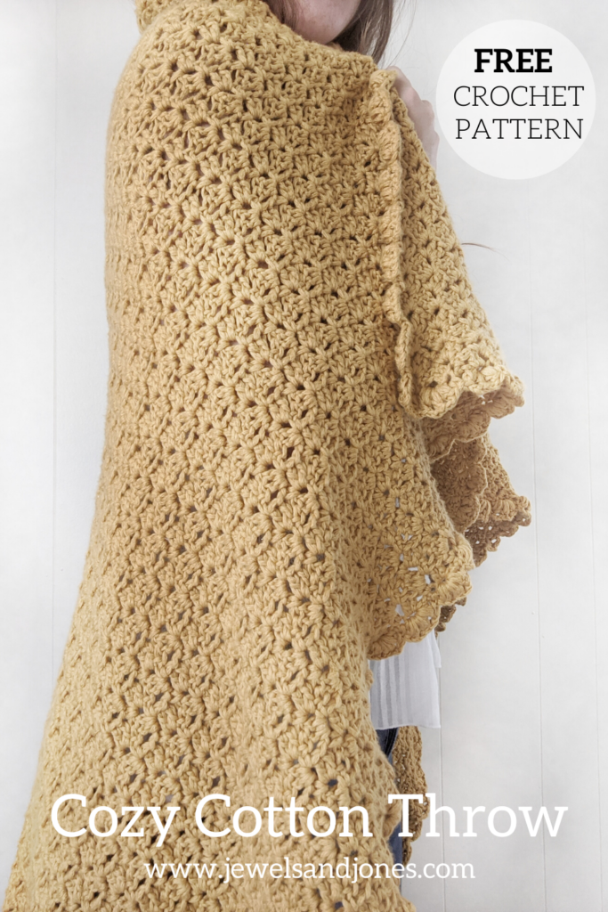 crochet a cozy cotton throw for the summer months, free pattern