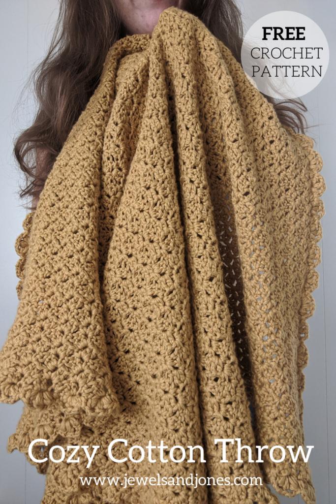 cozy cotton sunflower crochet throw, free pattern on the blog