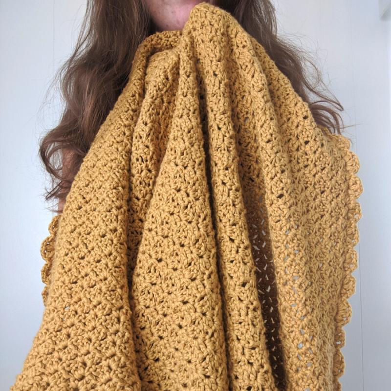 Cozy Cotton Sunflower Crochet Throw – Free Pattern
