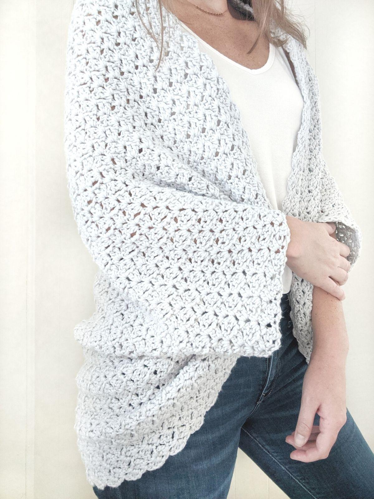full view of the crochet blanket shrug