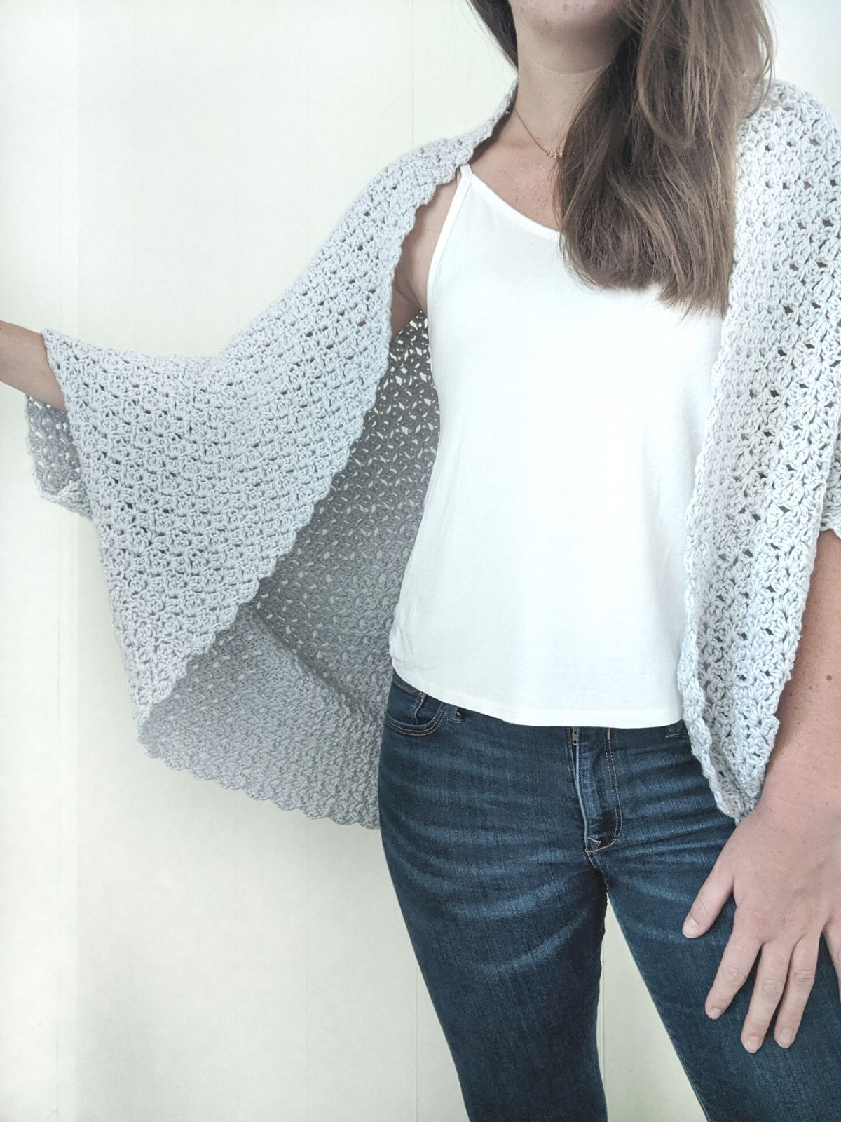 long flowy crochet shrug made with cotton yarn
