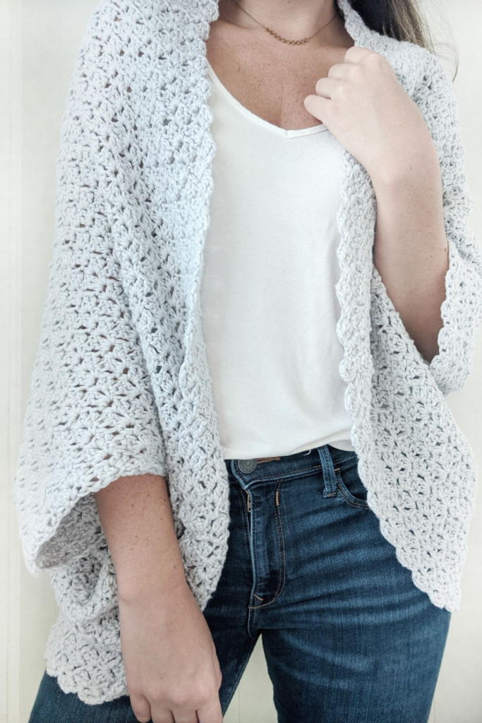Front view of the blanket shrug crochet pattern