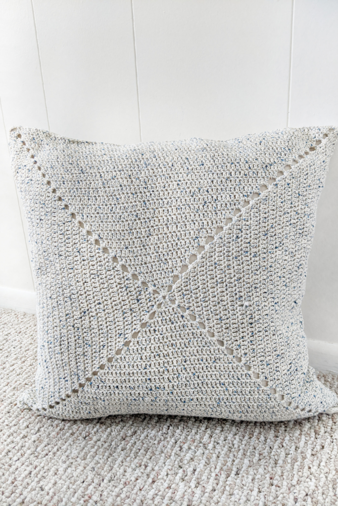 the classic granny square pillow pattern front view