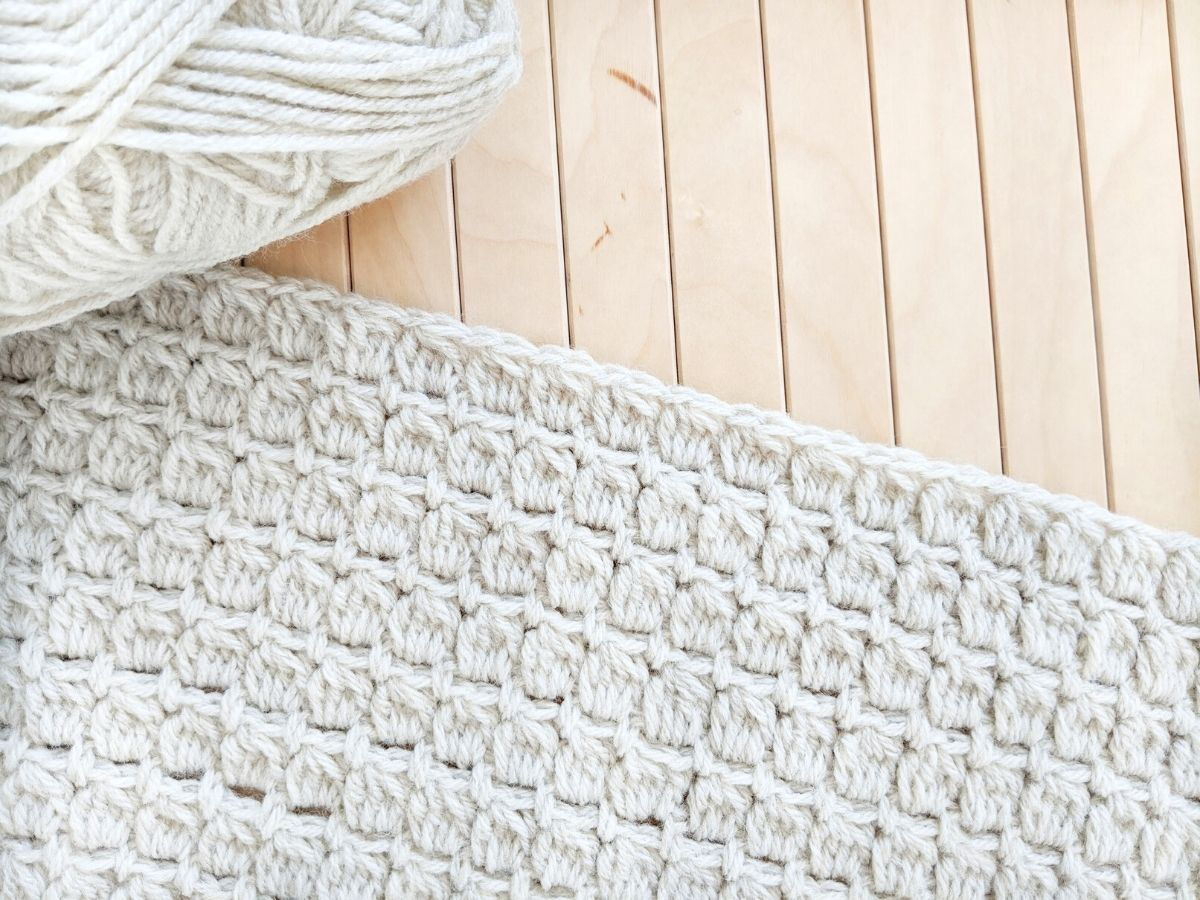 crochet cluster stitch made with Lion Brand Wool-Ease yarn