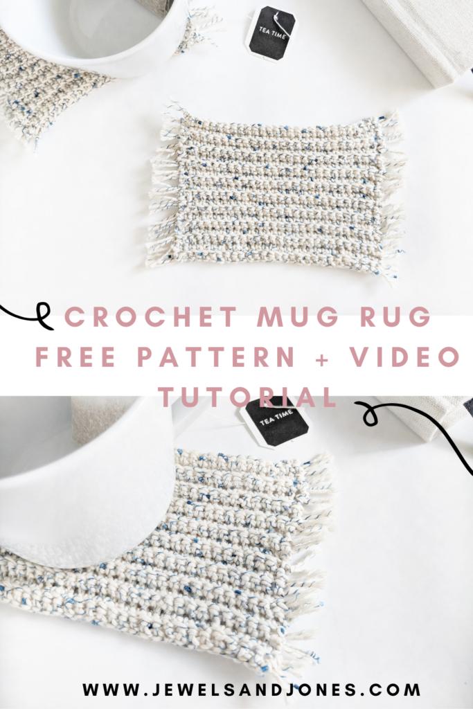 crochet mug rug coaster pattern and video tutorial