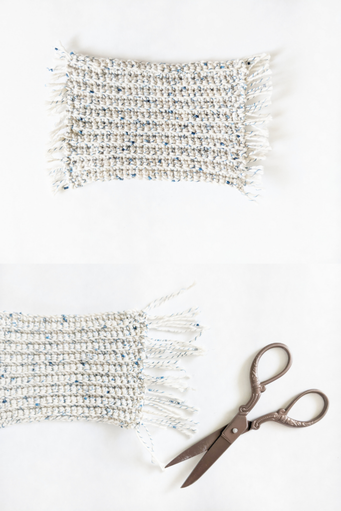 how to create fringe on your crochet mug rug coasters