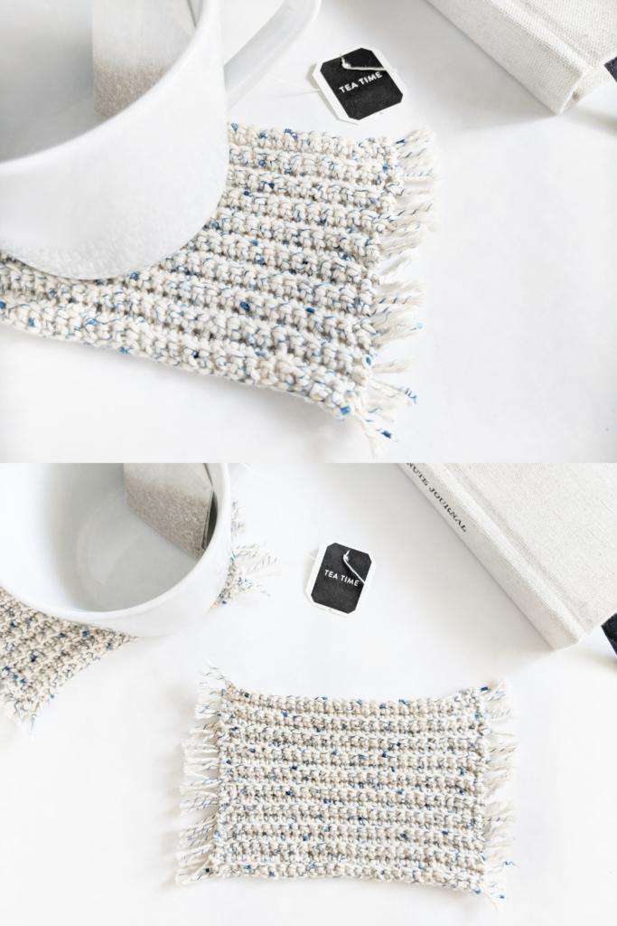 how to crochet a mug rug coasters, boho inspired crochet coaster