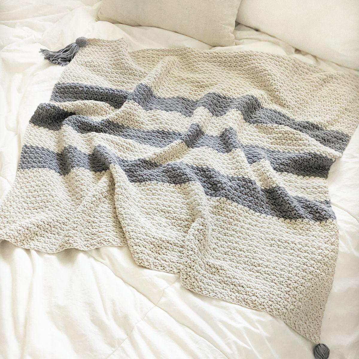Modern Striped Crochet Baby Blanket – Free Pattern