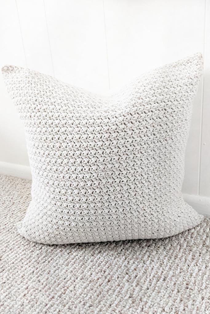Simple Crochet Farmhouse Style Pillow