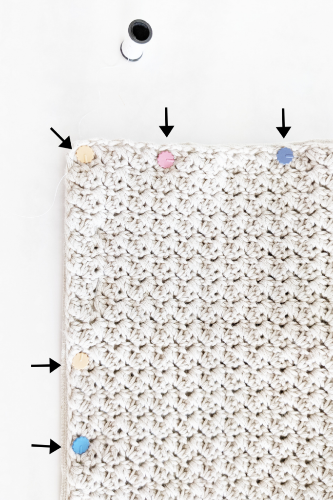 how to sew fabric onto crochet pillow cover