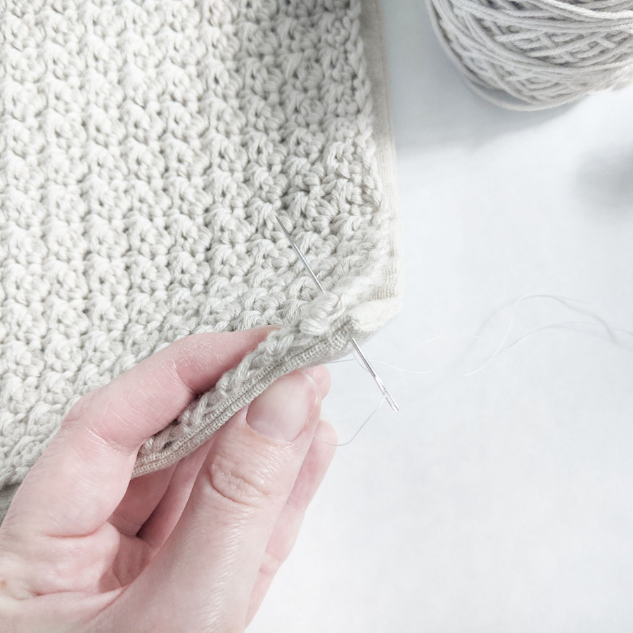 How to sew your crochet project on a pillow using a needle