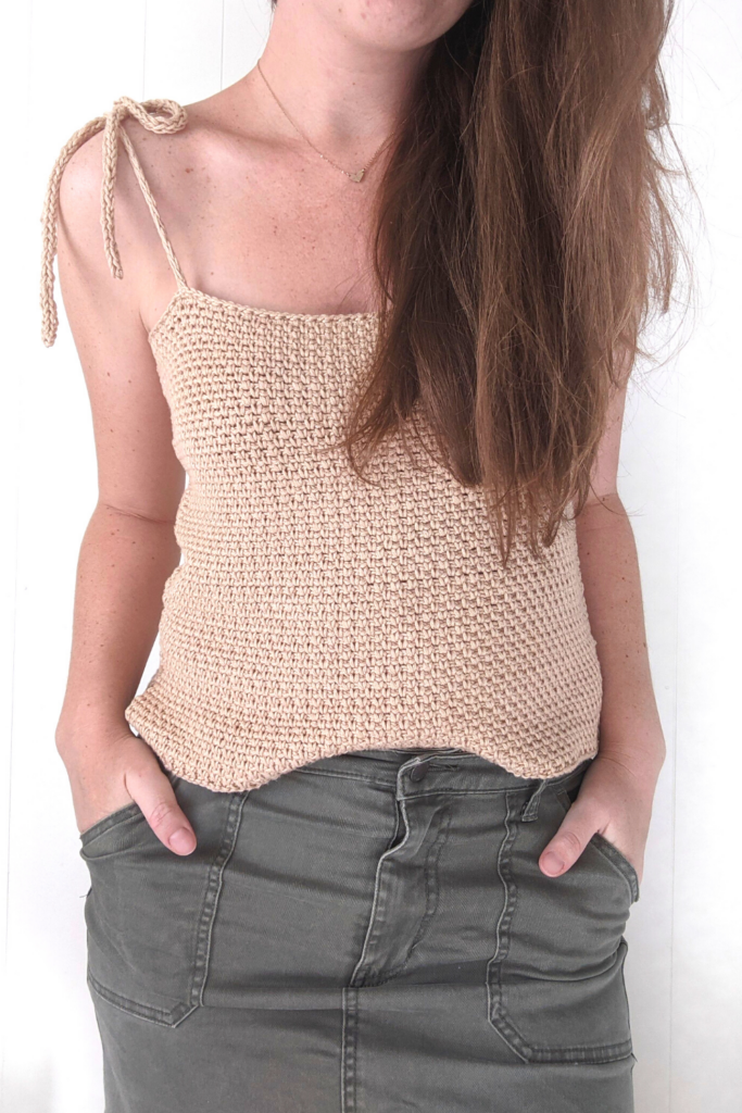 up close look of the crochet seaside tank top free pattern