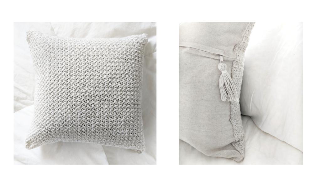 farmhouse bamboo cotton yarn crochet pillow