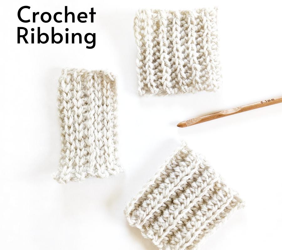 3 different crochet ribbing styles