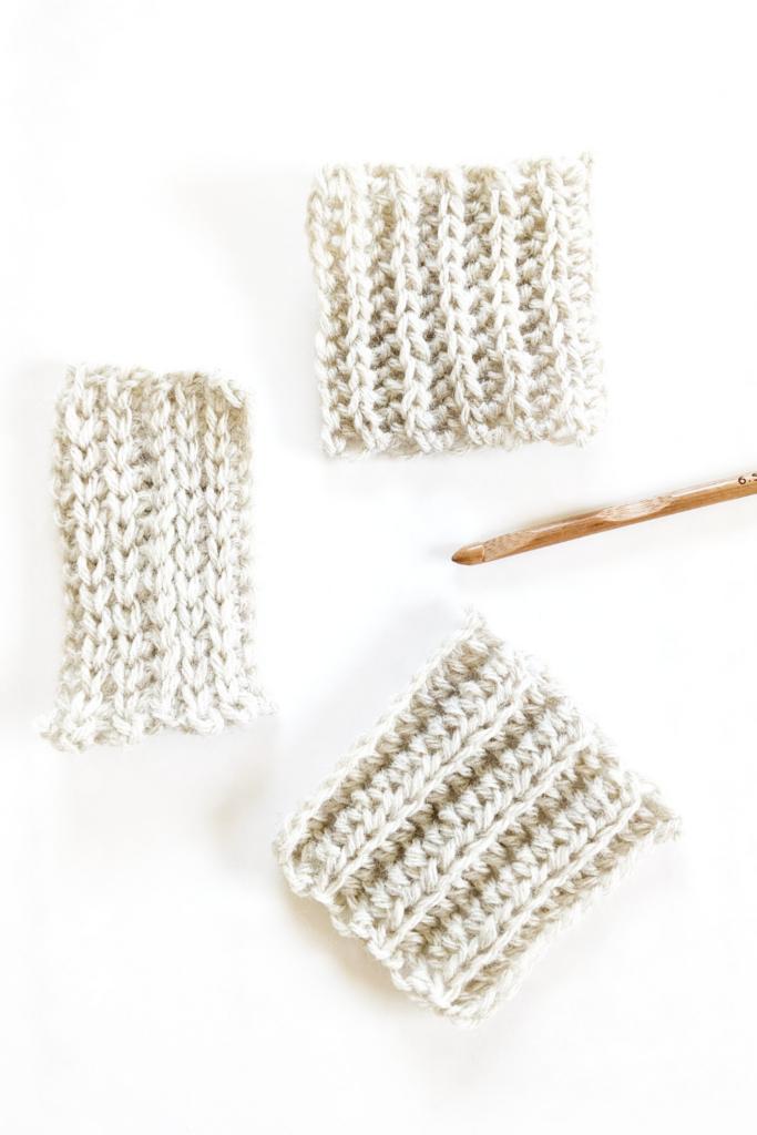 3 crochet ribbing styles, easy crochet ribbing tutorials