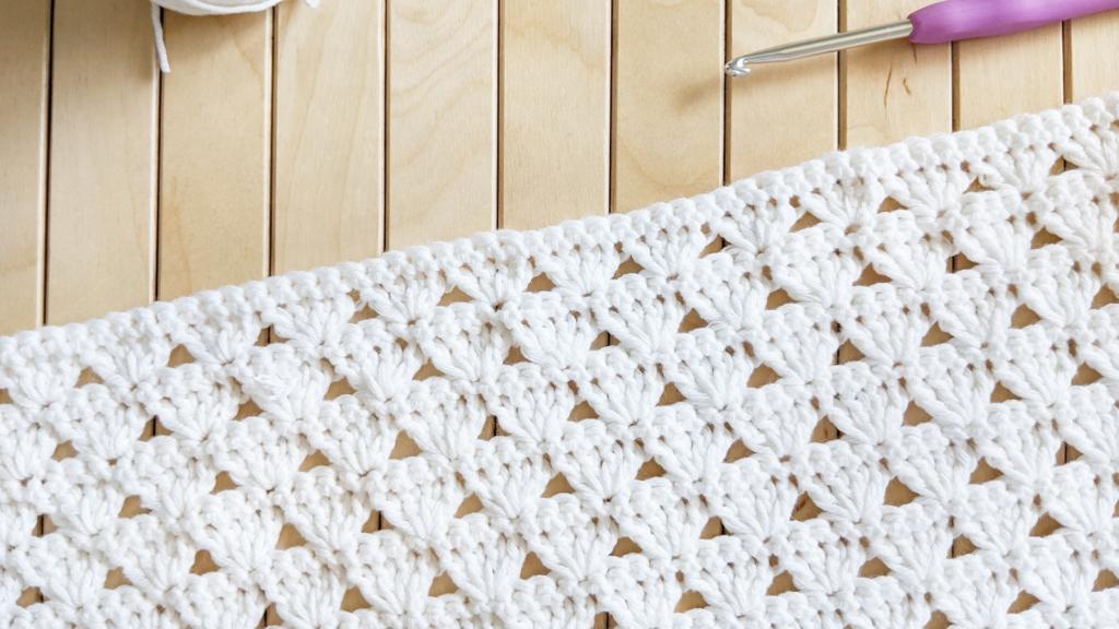 crochet shell stitch, one stitch repeat