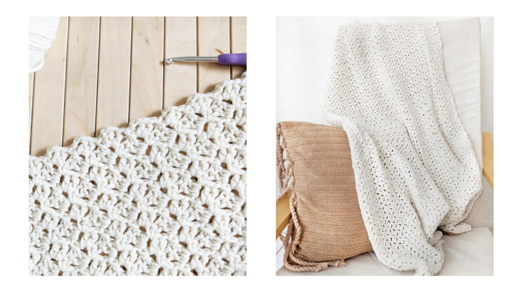 reverse blanket stitch, one repeat crochet stitch