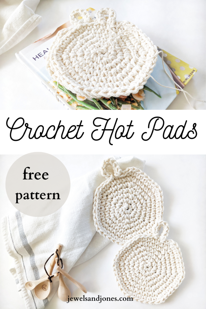 crochet spiral hot pads with a cookbook and cotton tea towel pin