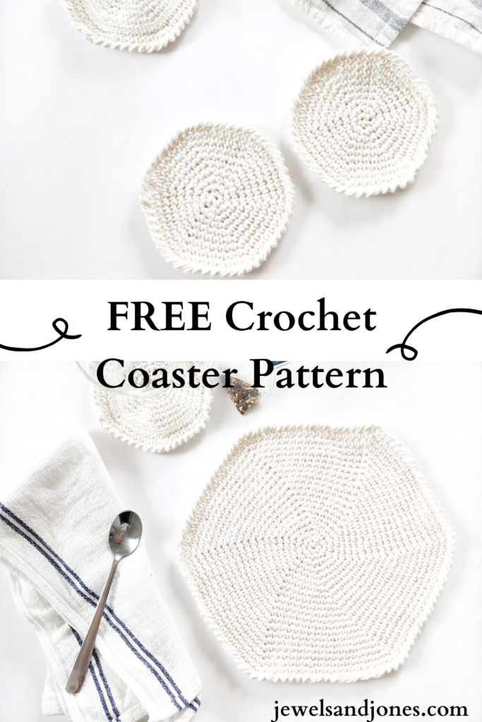 free crochet round coaster + placemat pattern, cotton dish towel with a spoon