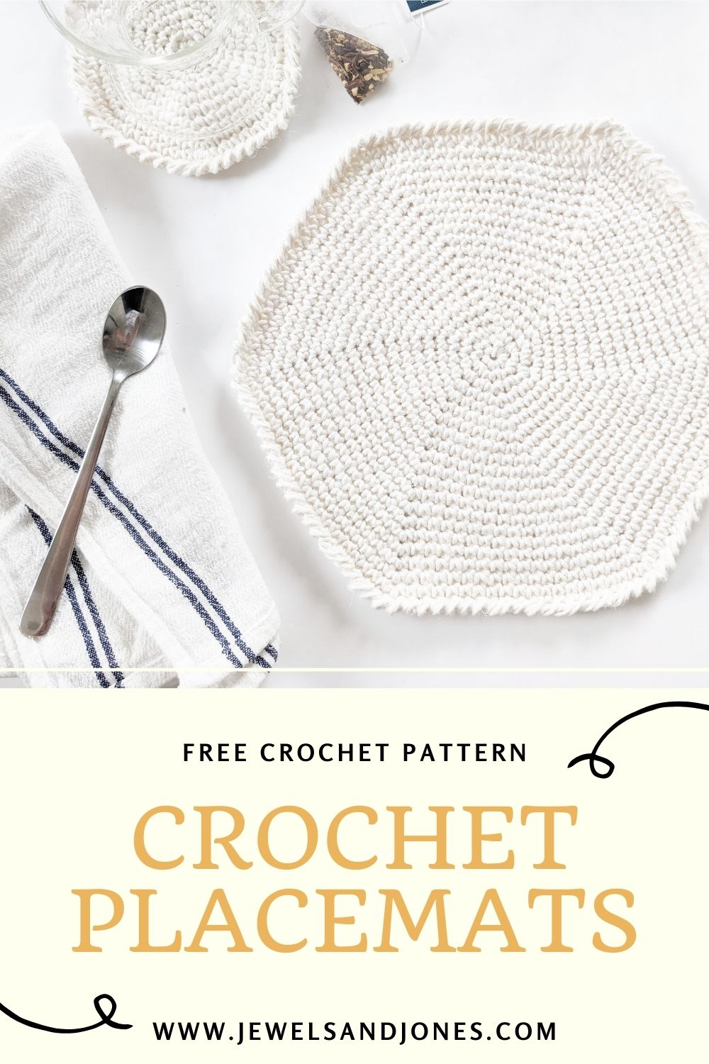 a pinnable image of the free crochet placemat pattern