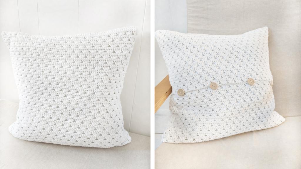 free modern crochet pillow pattern using the shell stitch