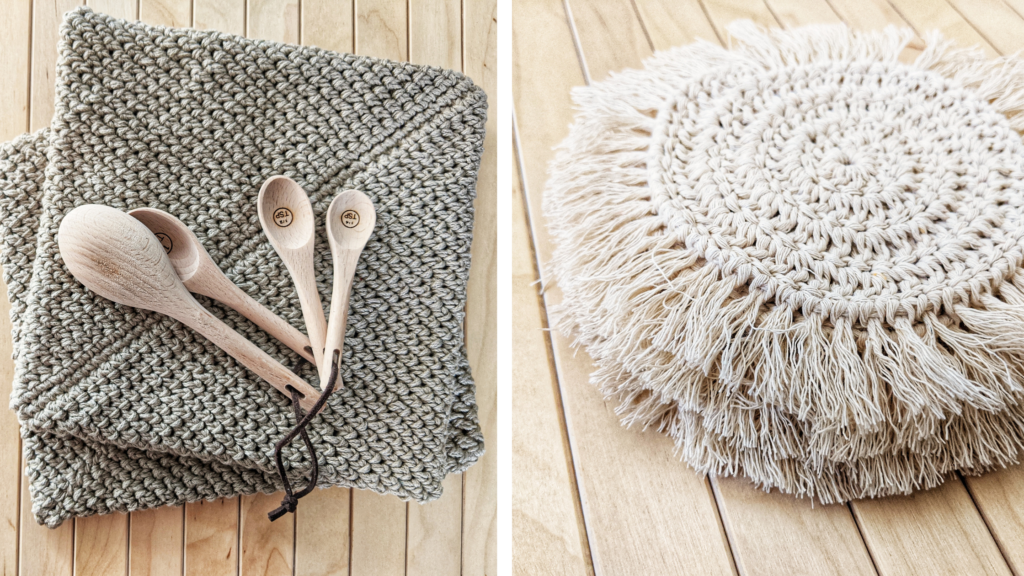 other free beginner friendly crochet kitchen patterns, double thick crochet potholder and crochet boho coaster