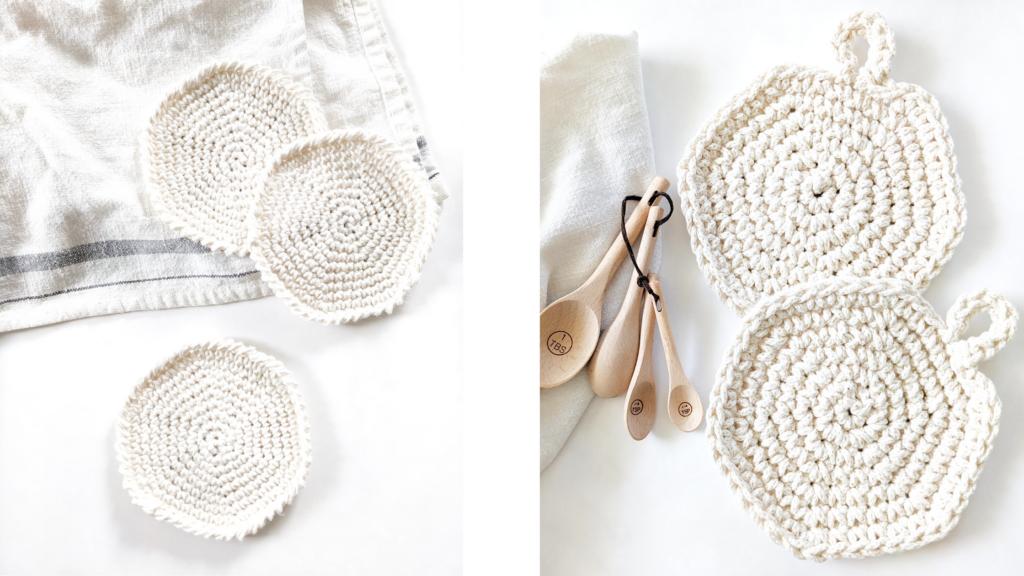 Free crochet spiral coaster pattern and free crochet spiral hot pads pattern