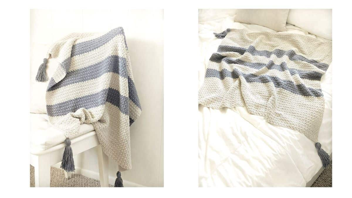 2 different photos of a cotton striped crochet baby blanket made with the suzette stitch