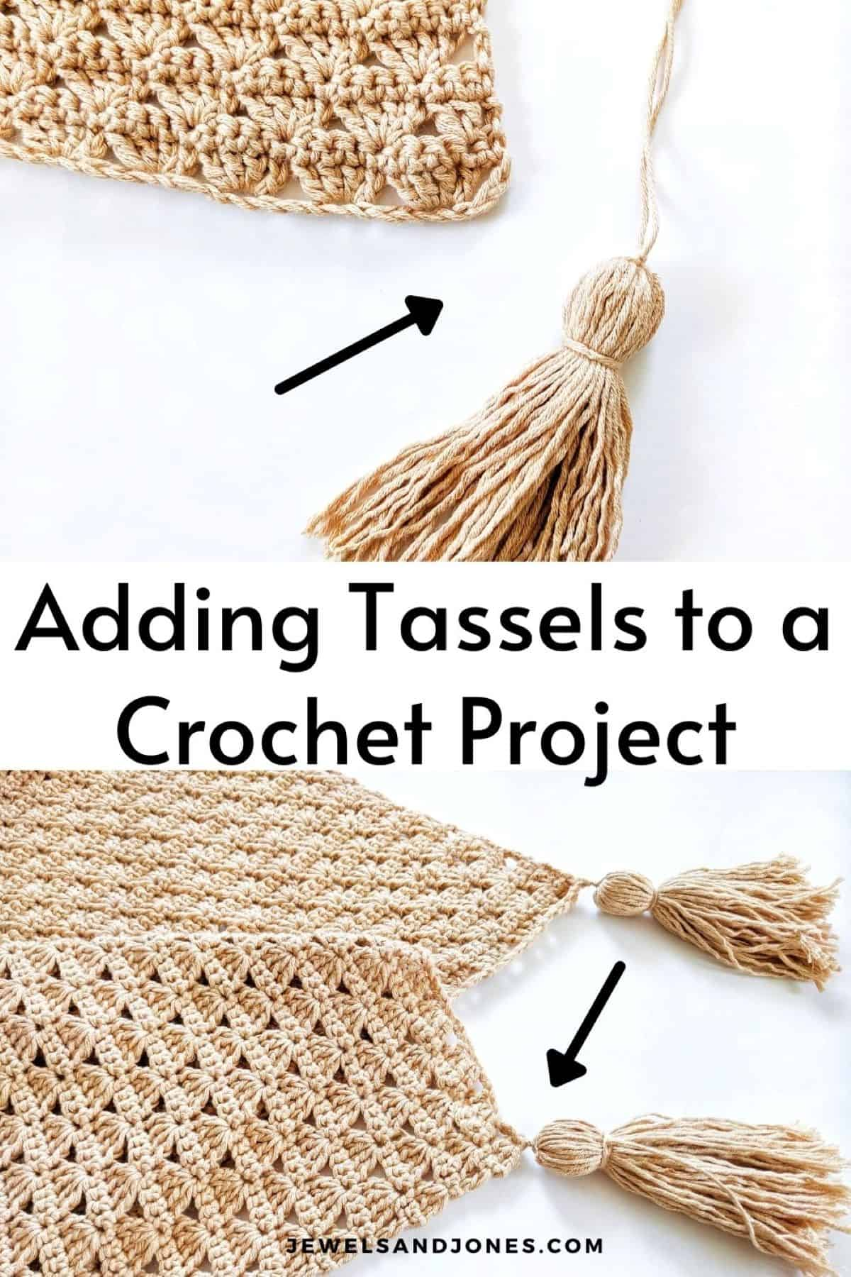 this picture is showing with arrows how to add tassels to a blanket
