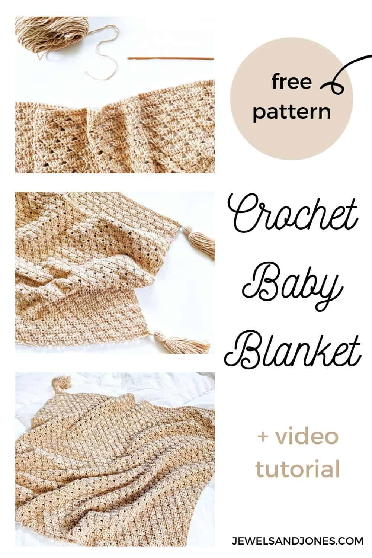 the crochet shell stitch baby blanket Pinterest pin