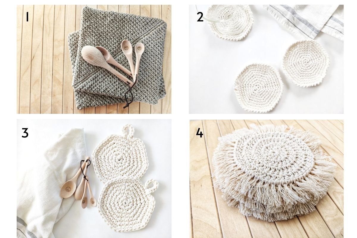 4 different free crochet home decor patterns: crochet potholder, coasters, hot pads, and boho coasters