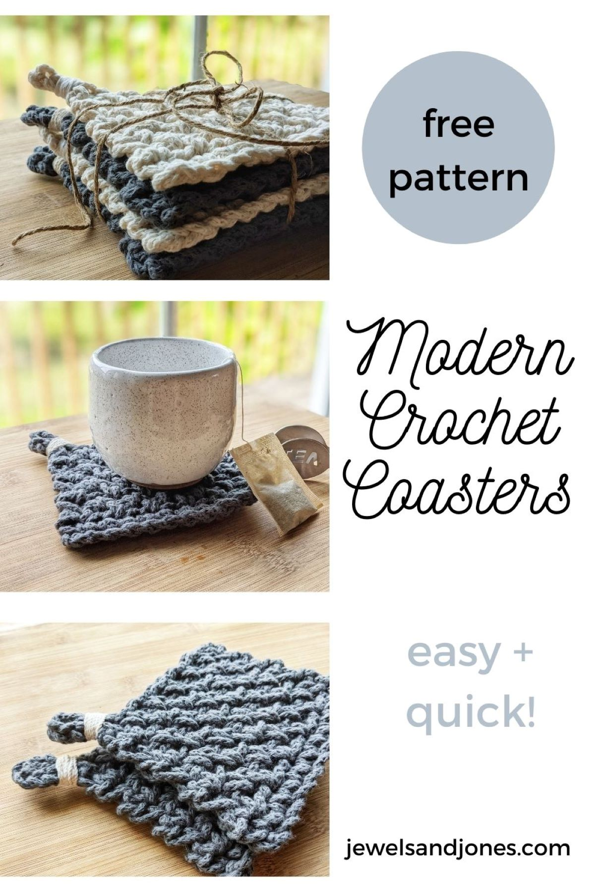 3 different pictures of the free crochet coaster pattern