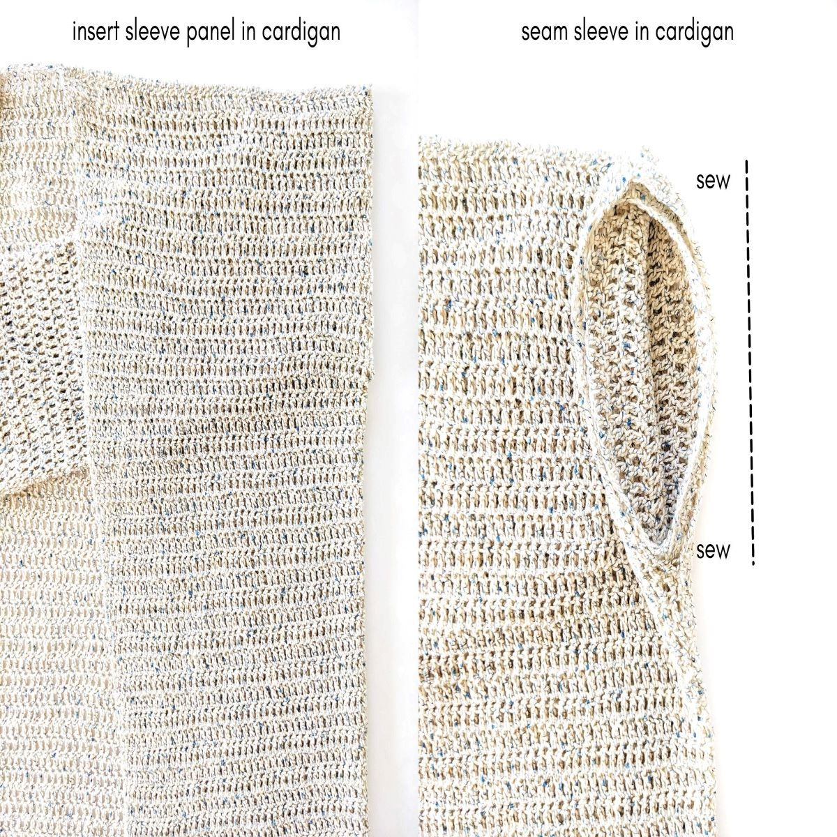 sewing your sleeve onto your cotton cardigan