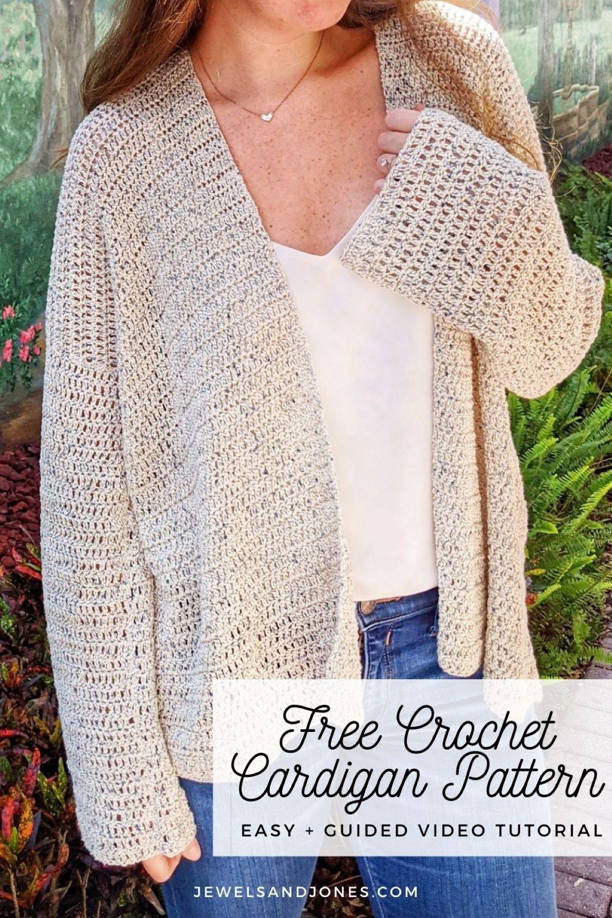 model wearing light cotton  oversized crochet cardigan